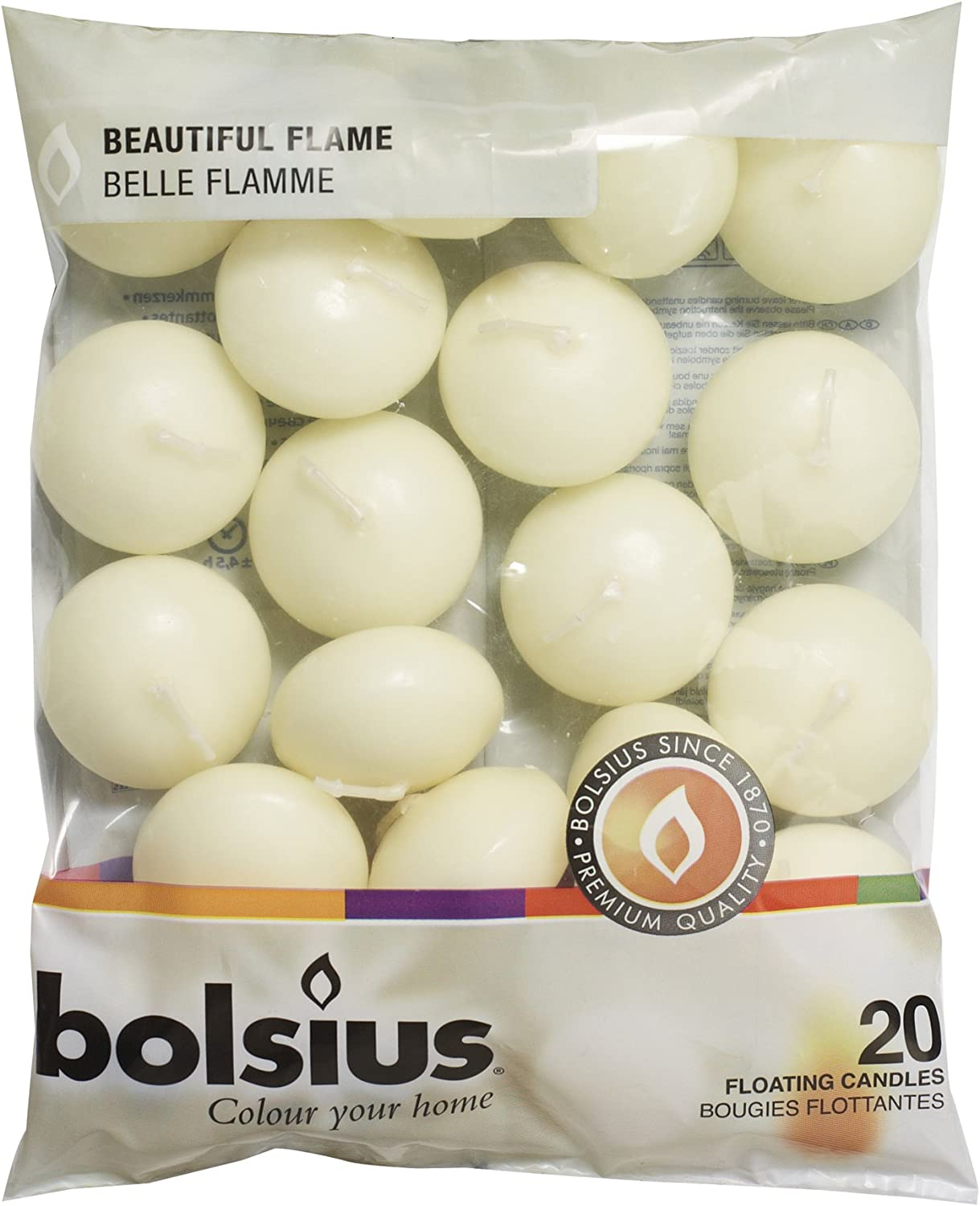 BOLSIUS Unscented Floating Candles - Creamy Ivory Pure 20 Rich Outlet SALE favorite