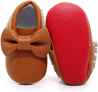 Double Bow Fringe Baby Moccasins - Soft Sole Baby Shoes Girls Toddler Crib Flats