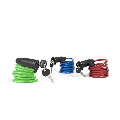 Provelo - Set d'Antivols / Cadenas pour Vélo - Kit avec 3 Cadenas - Câbles en spirale - Sérrure identique pour les 3 Antivols - 6 Clés - Format familial ultra pratique !