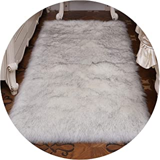 Pink Color Faux Sheepskin Chair Cover 17 Colors Warm Hairy Wool Carpet Seat Pad Long Skin Fur Plain Fluffy Area Rugs Washable,Black White,40x40cm