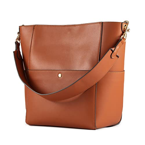 Kattee Women s Cowhide Leather Tote Shoulder Bag Hobo Handbag Shoulder  Bucket Bag