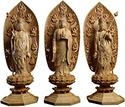 Sculptures Sculptures 3-Piece Solid Wood Buddha Statue Wood Carving Buddha Statue Buddhist Crafts