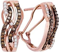 10k Rose Gold Round Chocolate Brown Diamond Striped Hoop Earrings (1/2 Cttw)