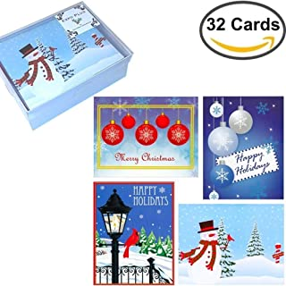 32 Boxed Christmas Cards: Assortment of Festive Designs, with Envelopes in Attractive Box (4 Designs)