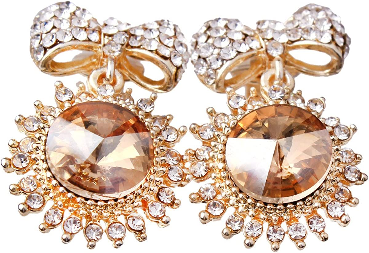 Austrial Crystal Rhinestone Bowknot Clip on Earrings Without Piercing Easy to Wear Jewelry