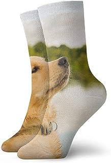 tyui7, Hermosos calcetines de compresión antideslizantes para perros marrones Cosy Athletic 30cm Crew Calcetines para hombres, mujeres, niños