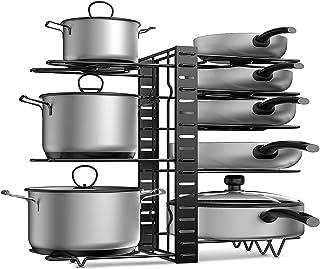 APPUCOCO 3 DIY Methods Iron Metal Adjustable Pot Pan Rack Organizer - 8 Pots Holder,4-tiers Each side,Cabinet Pantry Pot P...