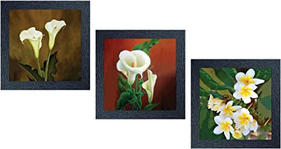 """Random (RP- 1094) Multicolor Abstract Paintings, Set of 3 (8"""" X 8""""-3)"""