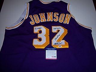 e197faee75b Magic Johnson Losangeles Lakers Hof 20025X ChampShowtime PSA/DNA Authentic Autographed  Signed Jersey