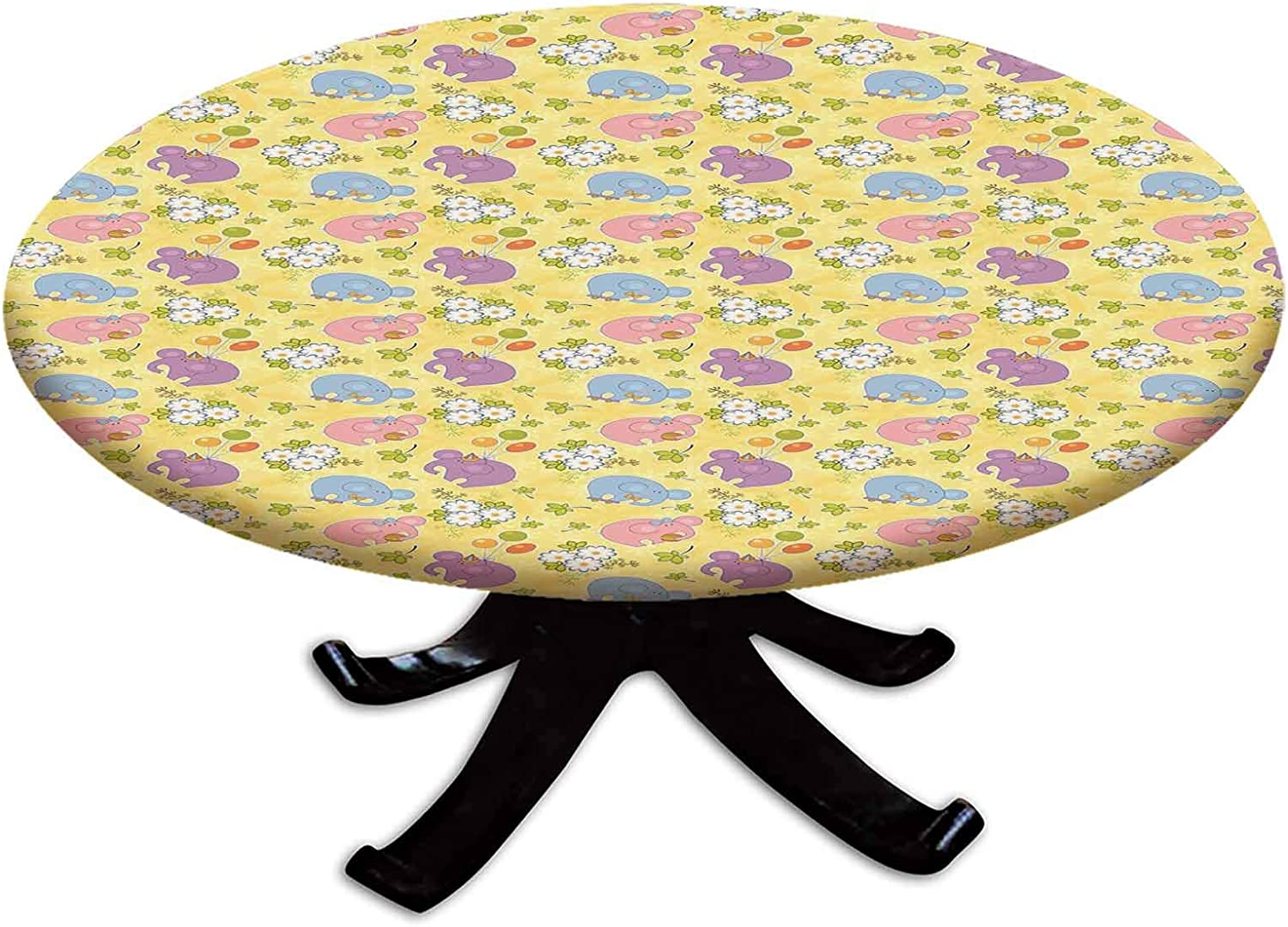 Elastic 年間定番 Edged Polyester Fitted Table Cover Blossoming Fl 限定モデル Cartoon