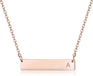 Rose Gold Initial Bar Necklace 925 Sterling Silver Personalized Alphabet Charm Pendant Necklace for Women Men