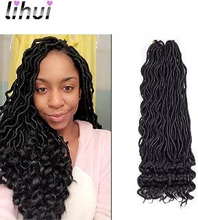 Lihui 3 Packs 14'' Goddess Locs Crochet Hair Wavy Faux Locs Crochet Braids Hair Kanekalon Braiding Hair Synthetic Hair Extension (14