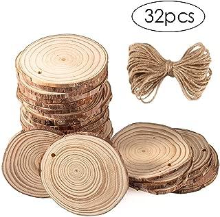 "CrazyFire Natural Wood Slices 32 Pcs2.4""-3.5"" Unfinished Wood with Hole forDIY Crafts Painting Christmas Holidays Wedding Decorations"
