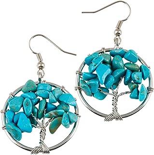 Tumbled Stone Tree of Life Dangle Earrings for Women