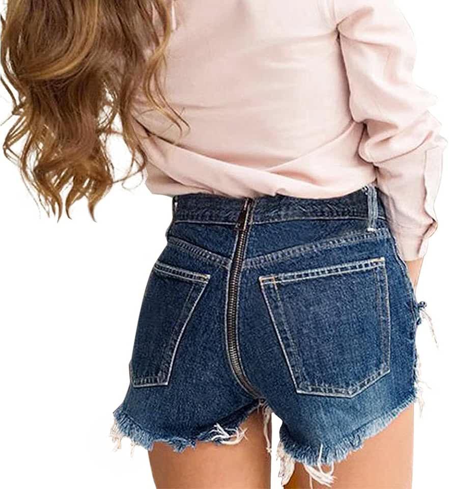 JJLIKER Women Summer Hole Denim Frayed Ripped Shorts Zipper Tassel Wide-Leg Trousers Jeans Fashion Casual Wide Leg