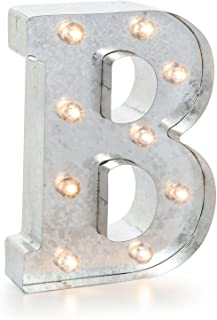 """Silver Metal Marquee Letter– B –Vintage-Style Lighted Marquee Letter with On/Off Switch, Ideal for Weddings, Special Events, and Room Décor, Galvanized Metal Finish, 9.87"""" Tall"""