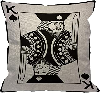 HGOD DESIGNS Poker Card Throw Pillow Cover,King of Spade Spades Playing Casino Vegas Decorative Pillow Cases Cotton Linen Square Cushion Covers for Home Sofa Couch 18x18 inch