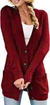 Sidefeel Women Open Front Pocket Cardigan Sweater Button Down Knit Sweater Coat