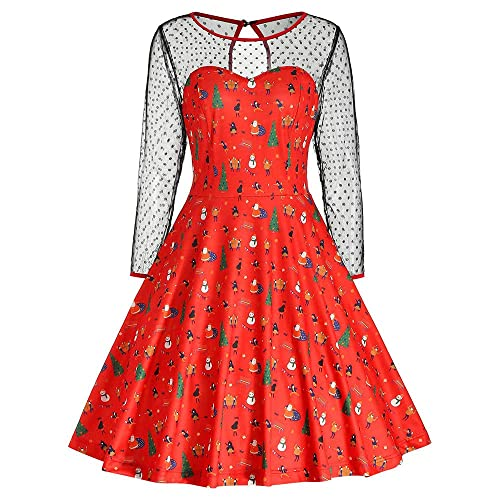 5bc2008d9d6b iTLOTL Christmas Fashion Women Vintage Merry Christmas Print Long Sleeve  Mesh Evening Party Dress …