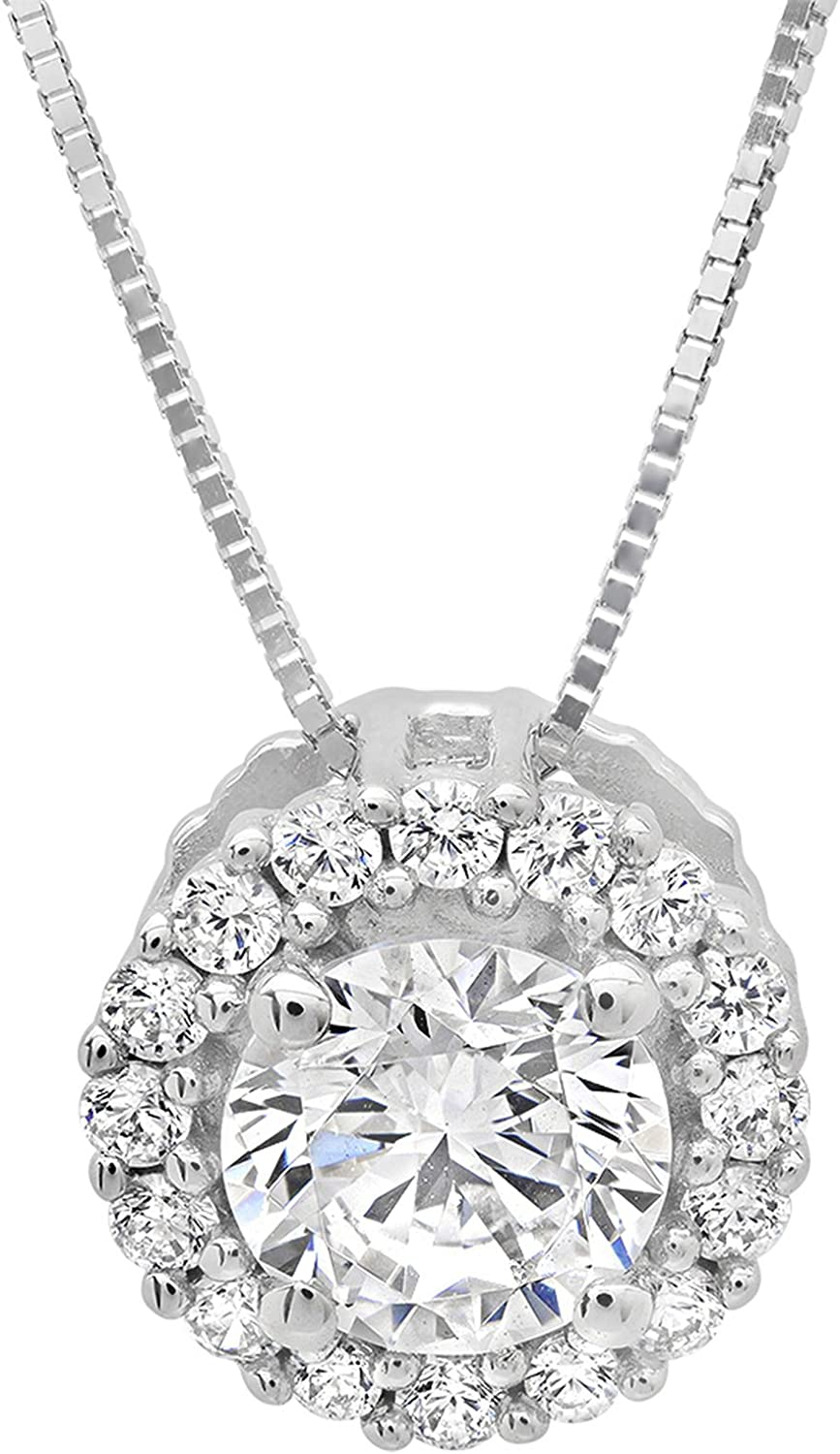 1.35 ct Brilliant Round Cut Pave Halo Stunning Genuine Created White Sapphire Ideal VVS1 D Solitaire Pendant Necklace With 16