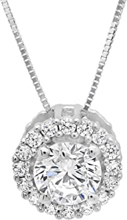 1.25 ct Brilliant Round Cut Pave Halo Highest Quality Moissanite Ideal VVS1 D Solitaire Pendant Necklace With 16