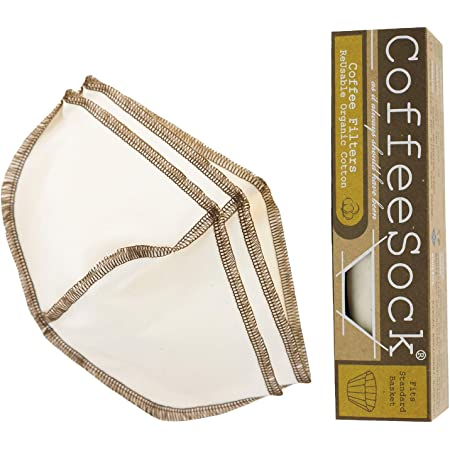 CoffeeSock Filtre /à lait r/éutilisable en coton biologique certifi/é Gots 64 oz Naturel