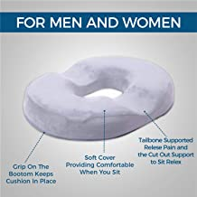 Grey Donut Pillow | Hemorrhoid Coccyx Tailbone Seat Cushion | Pain Relief | Premium Comfort | Contoured Cushion for Prostate, Pregnancy, Surgery, Post Natal Sciatica Relieves Pressure