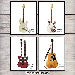 Famous Rock Star Guitars Wall Art Print Poster Set - Unique Home Decor or Gift for John Lennon, Jimmy Page, Jimi Hendrix, Eric Clapton Fans, Guitarist or Musician, Set of 4-8x10 Photos Unframed