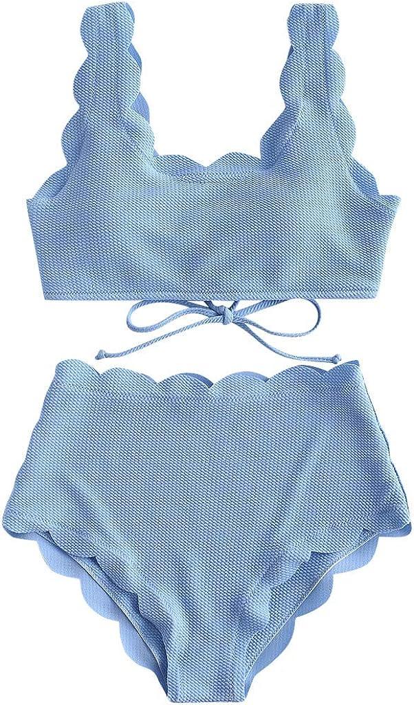 Forwelly Women Two Piece Push Up Bra High Waist Bottom Tankini Sets Plus Size Beachwear Swimsuit Bathing Suit