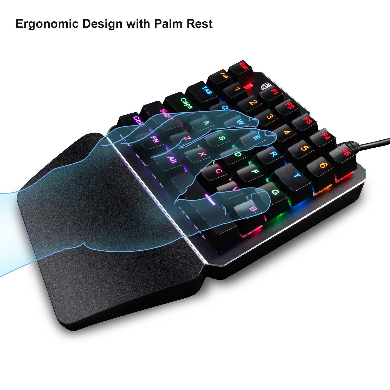 Julitech Gaming Keyboard One-Handed Keyboard Single Hand Keyboard Single-Handed Mechanical Keyboard RGB Gaming Mechanical Keypad For LOL//WOW PUBG//CF DOTA 2