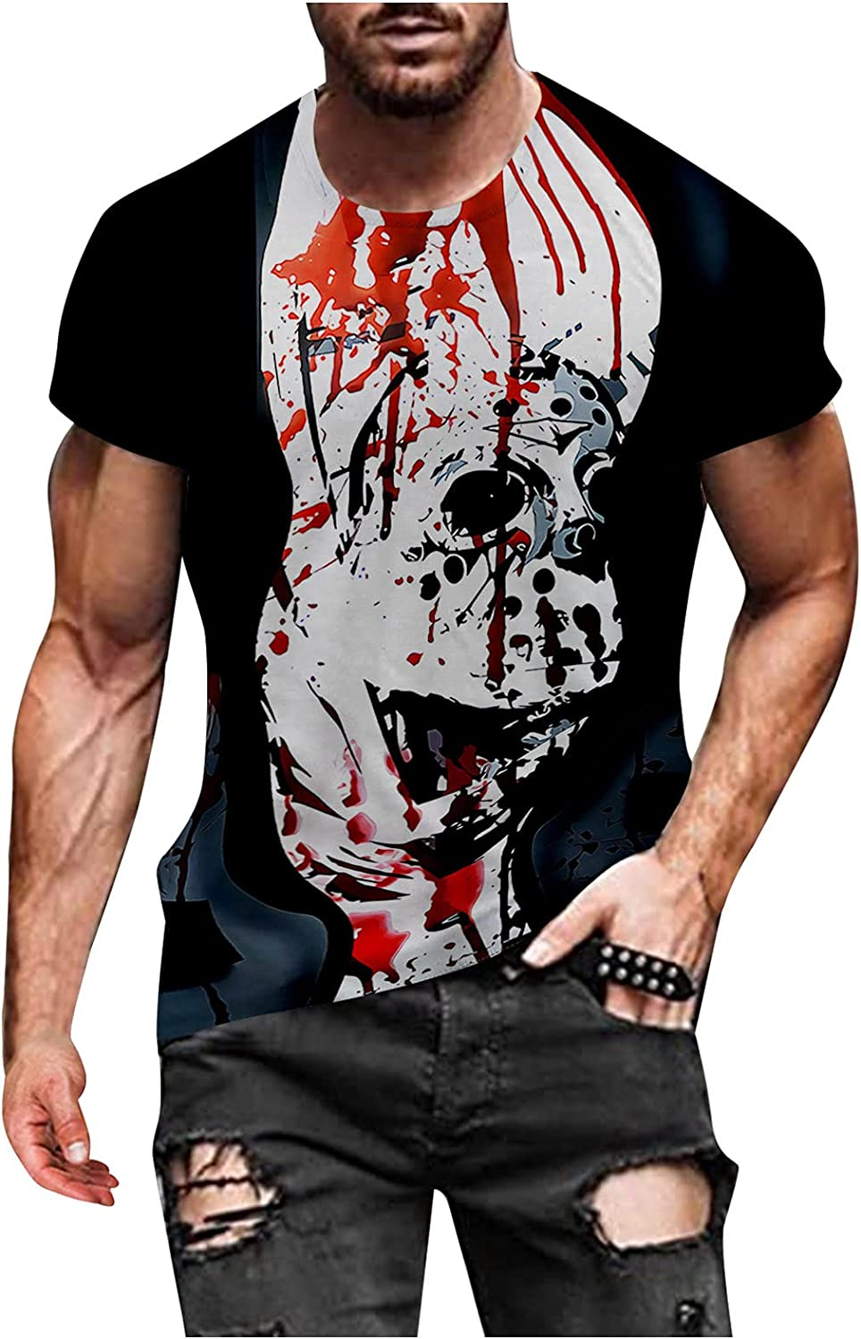 Burband Mens Halloween Shirts Pumpkin Skull Funny 3D Printed Gothic Tees Shirts Short Sleeve Athletic Workout Muscle Tops