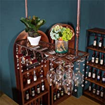 Yxsd Kitchen Storage Organisation Industrial Wall Mounted Wrought Loft Metal Wine Bottle Rack Hanging Counter Cup Holder D...