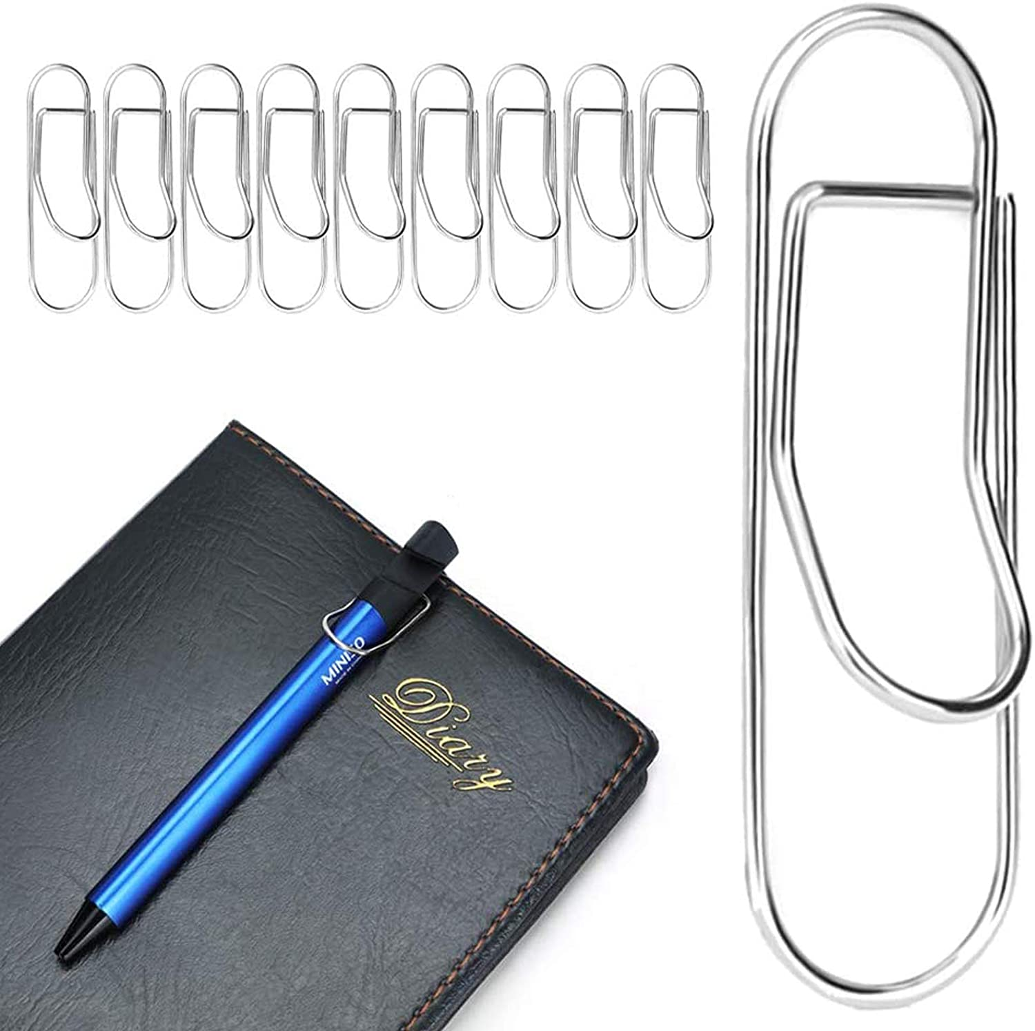 NEW MUZHI Pen Clips Free Shipping New Silver Stainless for Noteboo Holder Steel Pencil