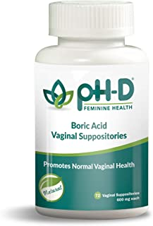 pH-D Feminine Health Support, Boric Acid Vaginal Suppositories, Pure Pharmaceutical Grade, Made in The USA, Bottle of 72 (600mg)