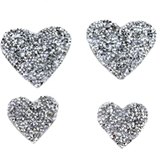 Pomeat 20Pcs Crystals Heart Patches Rhinestone Patch Appliques