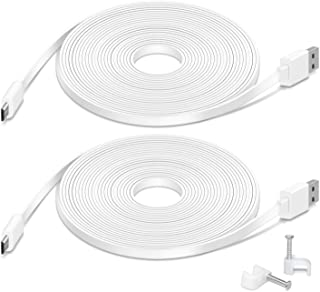 2 Pack 26FT Flat Power Extension Cable Compatible with Wyze Cam Pan, Kasa Cam, YI Dome Home Camera, Furbo Dog, Nest Cam, B...