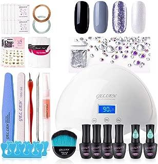 Gellen Gel Nail Polish Starter Kit with 24W Nail Dryer 4 Colors Base Coat Top Coat - Manicure Pedicure Tools Popular Nail Art Designs, Winter Romance