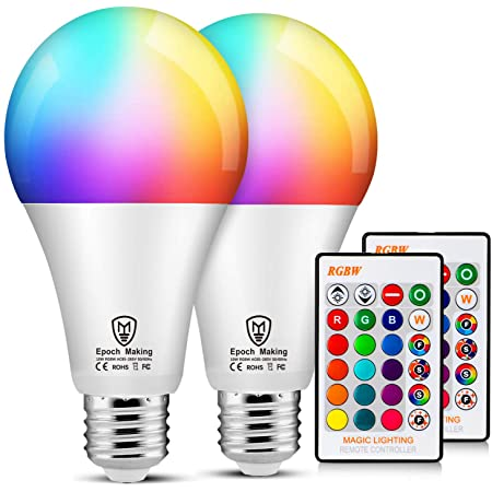 LED RGB Color Changing Light Bulbs with Remote, 6000K Dimmable E26 Screw Base, 85 Watt Equivalent Soft Warm White for Home Decoration, Bedroom, Stage and Party (2 Pack)