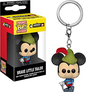Funko Brave Little Tailor Mickey Mouse: Mickey's 90th Anniversary x Pocket POP! Mini-Figural Keychain + 1 Classic Disney Trading Card Bundle [32174]