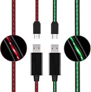 (2 Pack) USB C Cable Light Up, LED Flowing Fast Charger Sync Data Cord Compatible for Galaxy S8 S9, Google Pixel 2, LG G6