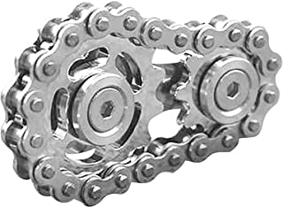 AQHXLS Sprocket Flywheel Fingertip Toy, Gyro Sprocket EDC Gear Chain Gyro Cross-Country Bicycle Spinner Toy (Color : Silver)