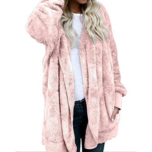 Womens Fuzzy Winter Open Front Cardigan Sherpa Fleece Jacket Hooded Coat  Outerwear b19e4e6aa
