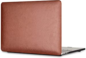 HCHY Compatible with MacBook Air 13 Inch Case Premium Leather Case 2020 2019 2018 Release A2337 M1 A2179 A1932 with Touch ID, Italian PU Leather Hard Shell Cover (Brown)