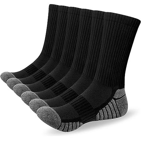 Alaplus Mens Socks 6 Pairs Wicking Breathable Cushion Comfortable Casual Crew Socks Outdoor Multipack Performance Hiking Trekking Walking Athletic Socks