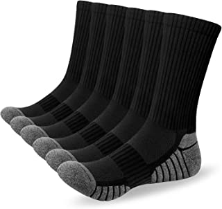 Alaplus Mens Socks 6 Pairs Wicking Breathable Cushion Comfortable Casual Crew Socks Outdoor Multipack Performance Hiking T...