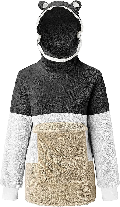 Women Frog Oversized Hoodie Sweatshirt Drawstring Long Sleeve Coat 90s E-Girl Vintage Streetwear with Pockets