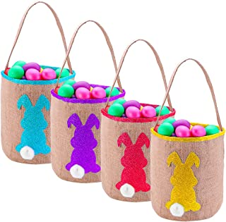 Easter Bunny Gift Basket - Easter Treat Bag Easter Decor Egg Baskets for Kids Burlap Bag to Carry Candy and Gifts (4pcs)