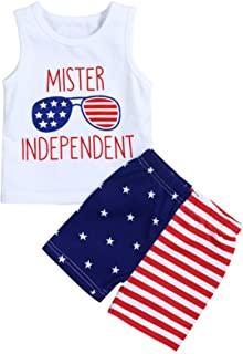 4th of July Baby Boys Summer Outfits Sleeveless T-Shirt Top with American Flag Short Pants Independence Day Sets