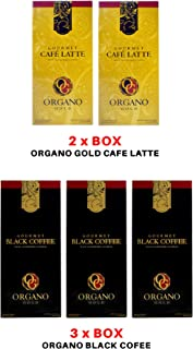 2 Boxes Organo Gold Cafe Latte Low Caffeine (20 sachet/box) and 3 Boxes Organo Gold Black Coffee (30 sachet/box)