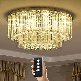Asmanny LED高級ファッションクロムミラーステンレスリモートコントロール3種類の明るそしてマルチカラーLEDさクリスタルライトクリスタル製シーリングライトクリスタルシャンデリアシーリングライトシャンデリアランプ光リビング用ベッドルーム(...